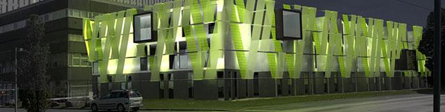 Vue des vestiaires modulaires du CHU de Caen de nuit